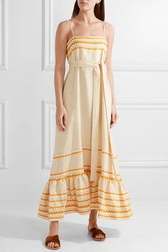 Lisa Marie Fernandez - Rick Rack-trimmed Linen Maxi Dress - Ecru - 1