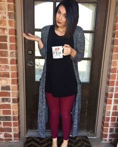 Some days you just need more coffee and lularoe! Leggings, perfect tee, and sarah cardigan!