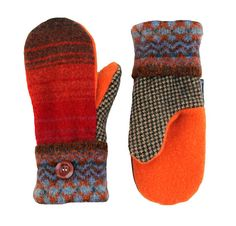 Red and Orange Mittens for Women, Sweater Mittens, Wool Mittens, Striped Recycled Brown Sweatymitts Fleece Lined Upcycled Sweaty Mitts Gift
