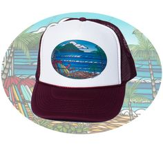 d732216518f2c Waikiki Holiday Trucker Hat by Heather Brown www.HeatherBrownArt.com   surfart Heather Brown