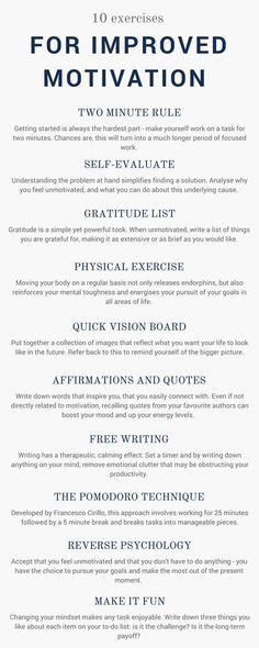 Ten Exercises To Boost Your Motivation
