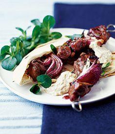 Rosemary lamb kebabs with honey and redcurrant glaze