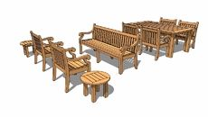 3d model of teak garden furniture suite - Garden Furniture 3d