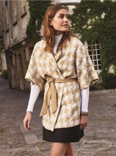 Anthropologie EU Houndstooth Wrap Coat. Drawing upon vintage references, and with a healthy pinch of Anglophilia, Elevenses evokes a mood of modern elegance. Featuring finely tailored classics that play with color, shape and detailing, this label is exclusive to Anthropologie.