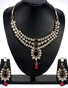 #Necklace Sets - Stone & Kundan Work Necklace Set Costs Rs. 1,499. #Jewellery. BUY it here: http://www.artisangilt.com/jewellery/necklace-sets/stone-kundan-work-necklace-set.html?ref=pin