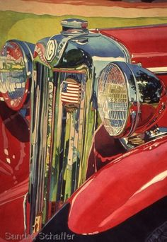 """Painting : """"Bel air Reflections Series (Original art by Watercolors by Sandra Schaffer, WHS, TWSA, NWS) Train Illustration, Original Art, Original Paintings, Rockabilly Cars, Watercolor Paintings, Watercolors, Car Drawings, Unique Cars, Automotive Art"""