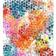 bubble wrap paint paint with tempura paint & press on white paper  (intro to print making)