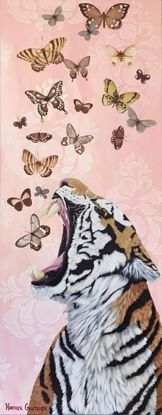 """""""Springtime"""" Acrylic on Canvas inches Heather Gauthier - Anthropomorphic Realism, Original Paintings Painting Inspiration, Art Inspo, Iphone Background Wallpaper, Tiger Wallpaper Iphone, Illustration Art, Illustrations, Photo Wall Collage, Pics Art, Aesthetic Art"""