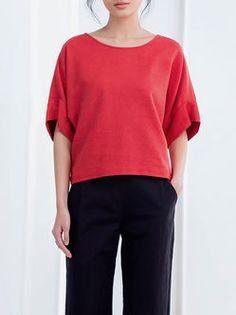 Plain Linen-blend Short Sleeved Top