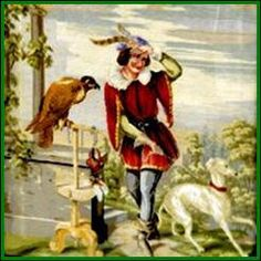 Whippet Art-Falconer with Whippet