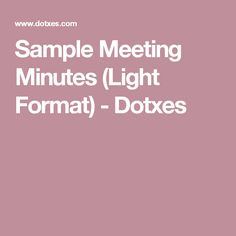 Sample Meeting Minutes Template  PTA    Template