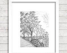 Original pencil drawing, landscape sketch, Pencil Print, Jamaica landscape, black and white art, Original landscape mountain Forrest #LandscapeSketch Landscape Sketch, Landscape Design Plans, Landscaping Costs, Graphite Drawings, Retro Home Decor, White Art, Watercolor Paper, Jamaica, Printable Art