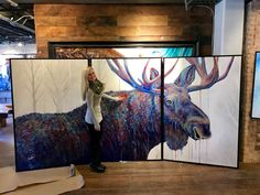 Contemporary colorful animal wildlife art paintings and prints by Artist Teshia. Featuring vivid wild animal custom paintings and fine art prints. Mini Paintings, Original Paintings, Colorful Animals, Wildlife Art, Triptych, Park City, Awesome Art, Nature Pictures, Love Art