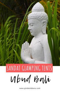 Ubud Bali Hoteltipp Sandat Glamping Tents Boutique Hotel. Glamping Zelte mit privaten Pools, inmitten tropischer Gärten. 5 Sterne Luxus unter 5 Milliarden Sternen. Ubud ist das Natur- und Kulturjuwel Balis. Ruhe und Abgeschiedenheit vom Trubel findet man, umgeben von Reisfeldern und dichtem Grün, in den Sandat Glamping Tents. www.gindeslebens.com #bali #ubud #sandat #glamping #glampingbali Tromso, Ubud, Phuket, Glamping, Koh Tao, Strand, Garden Sculpture, Tent, Hotels