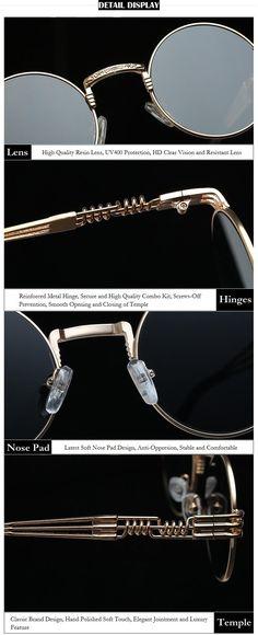 c2f417bbfdea #sunglasses Vidano Optical Round Metal Sunglasses Steampunk Men Women  Fashion Glasses Brand Designer Retro Vintage