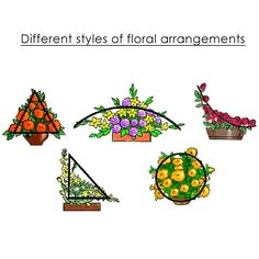 Different styles of floral arrangements