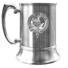"Keith Scottish Clan Crest Pewter Badge Tankard. These Clan crest 16 oz (.473 L) tankards are brushed stainless steel, double lined to keep your favorite drink cool longer. They stand 5"" (127 mm) high by 4""(120 mm) wide. The handle is solid and highly polished. Yours will be mounted with one of our detailed high quality Scottish Clan crest pewter or sterling silver badges. All major clans are available, please refer to our ""Scottish Clan Crest Pewter Badge Tankard - All Clans"" listing. We..."