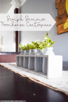 Simple Summer Farmhouse Centerpiece. This is so pretty and an easy DIY to add farmhouse style and fixer upper style to your home. Summer DIY decor project plus links to other great summer DIY decor projects! @making