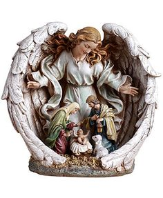 Napco Figurine, Guardian Angel With Holy Family Nativity Scene - Our crib set at home