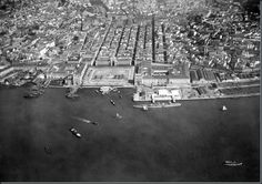 Vista aérea da Baixa, anos 30