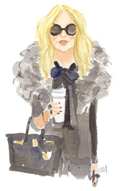 Cool Caitlin McGauley watercolor of Rachel Zoe.