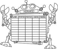 Horario escolar Robots - Dibujalia - Dibujos para colorear-Profes-Aula-Horario escolar Robots