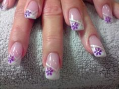 Slant French mani with single added line and one flower in corner of French Tip. French Nail Designs, Creative Nail Designs, Toe Nail Designs, Beautiful Nail Designs, Beautiful Nail Art, Cute Nail Art, Cute Nails, Pretty Nails, French Nails