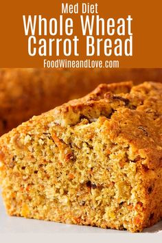This tasty Whole Wheat Carrot Bread smells so good! I like that it can be made with whole wheat flour as well. This is one of the healthier bread recipes that I have tried! Healthy Bread Recipes, Best Bread Recipe, Carrot Recipes, Banana Bread Recipes, Baking Recipes, Carrot Bread Recipe Moist, Carrot Cake, Banana Carrot Bread, Healthy Food