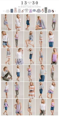 13 Going on this is awesome--not my color choices, but the concept. 13 pieces and you can make 30 outfits--pretty much one for every day of the month. This takes a capsule wardrobe to a whole new level. Model Poses Photography, Photography Basics, Travel Photography, Poses References, Posing Guide, Fashion Capsule, Minimalist Wardrobe, Minimalist Packing, Fashion Poses