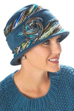 blue tweed kaleidoscope rosette hat for cancer patients. Such pretty colors!
