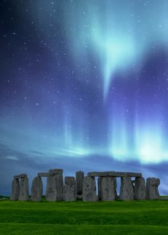 """Beautiful """"Stonehenge Aurora - While."""" metal poster created by David Crosby. Our Displate metal prints will make your walls awesome. Dark Fantasy, Mountains At Night, Outlander Novel, Elements Of Nature, Fantasy Places, Mystique, World Pictures, Stonehenge, Gods And Goddesses"""