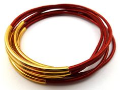 red leather bangles, red bangles, metallic leather, red bracelets, metal, gold plated, leather jewellery, stackable, set of six, bangles