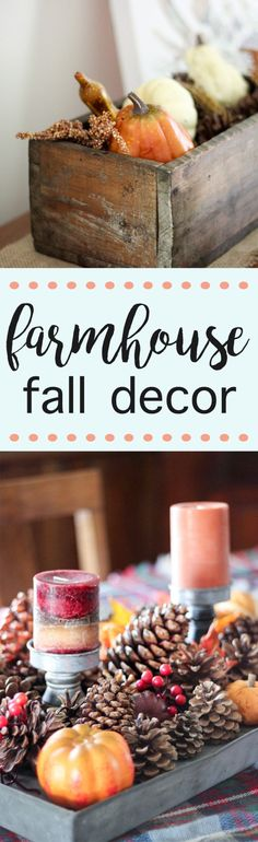 Our farmhouse fall decor will take you less than five minutes to achieve! These fall decorations for your tabletop and piano are easy! Pinecones, pumpkins, galvanized metal and candles make the centerpiece for our farmhouse table. Besides decorating it's also a great time to make sure you're following some fire safety tips - like changing out your batteries on your smoke detectors! You can see our farmhouse fall decor on the blog and all the tips!