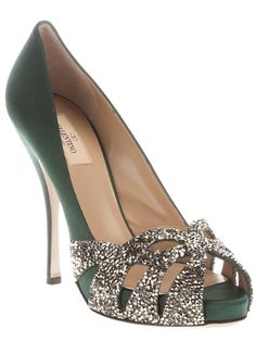 Green silk pump from Valentino featuring a peep toe with a class bead embellished cut-out detail, a leather sole and silk covered stiletto heel.