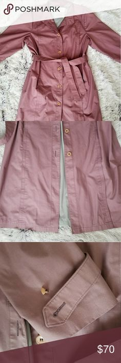 London Fog Maincoats Lavender Trench Coat Beautiful London Fog Maincoats Lavender Trench size 16 petite. Minimal wear. Partial Button on right sleeve, but additional buttons are still intact under tag as pictured. London Fog Jackets & Coats Trench Coats