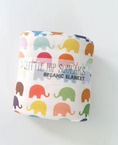 Organic Baby Blanket, Bright Elephants, Organic Cotton, Neutral Baby Gift, Ready to Ship. $44.80, via Etsy.