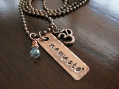 Namaste Hand Stamped Copper Necklace With Om by FiaSolBoutique, $25.00