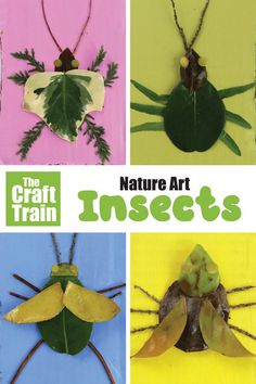 Nature art insects kids can make from leaves and sticks. This is a great outdoor summer activity kids will adore! Get outdoors and go collecting! Then make bright, arty bugs from nature using leaves and sticks. Forest School Activities, Insect Activities, Nature Activities, Summer Activities For Kids, Kids Nature Crafts, Garden Crafts For Kids, Summer Science, Science Activities, Insect Crafts