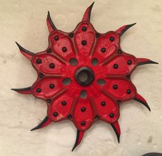 Hand Painted Rotary Hoe Tiller Wheel by Dennis Robinson