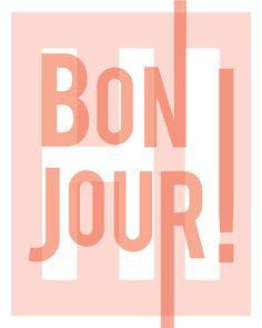 hi and bonjour print