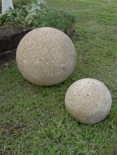 Concrete Garden Spheres with pea gravel texture