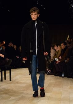 Black double-faced wool and cashmere blend overcoat with slim-leg jeans and The Sneakers