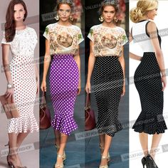 Women Vintage Polka Dot High Waist Party Cocktail Mermaid Pencil Skirt Dress 607 #Emage #StretchBodycon