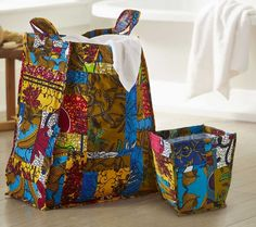 African Patchwork Laundry Hamper and Waste Basket - Made by a women's coop in Ghana