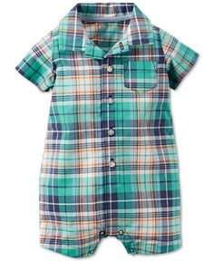 Preppy-cute style for your baby boy, this Carter's romper features a sweet plaid print and collared look. | Cotton | Machine washable | Imported | Spread collar | Short sleeves | Pocket at left chest