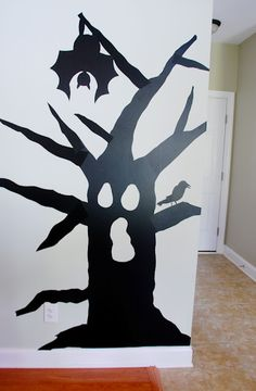 Halloween Decor - DIY contact paper silhouettes