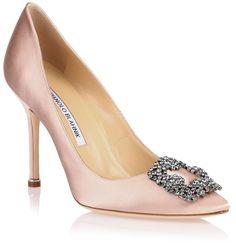 Manolo Blahnik Hangisi satin pump nude #shoes