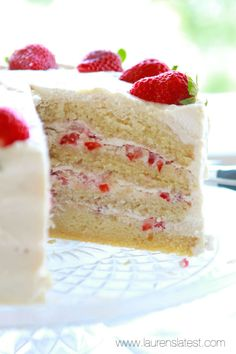 Strawberries and Cream Layer Cake from @laurenslatest