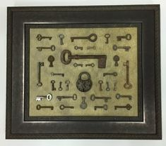 Antique keys and lock given a rustic industrial feel.