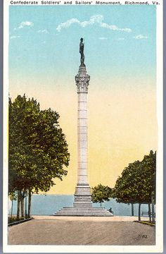 https://flic.kr/p/rDK1oQ | Confederate Soldiers' and Sailors' Monument, Richmond, Va. |  Description: It was unveiled May 30, 1894, at a reunion of Confederate Veterans.  This imposing monument is situated in Libby Hill Park, and is one of the landmarks of the city.  The bronze figure of a Confederate Soldier surmounting the top of the monument is said to be the largest piece of solid bronze ever cast in the United States.  Manufacturer: Chessler Co., Baltimore, Md.  Date Postmarked: Not…